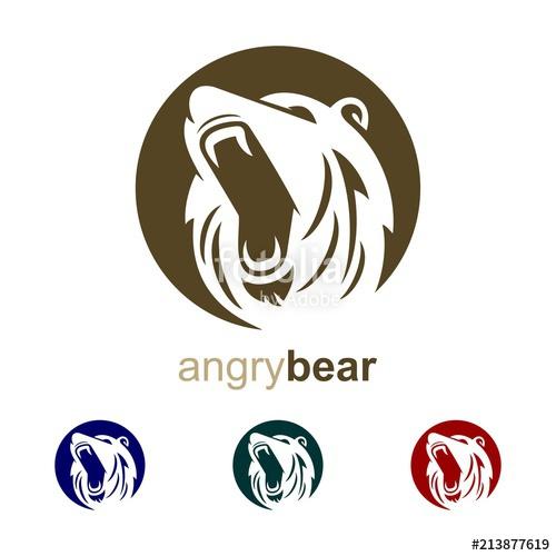 500x500 Angry Bear Design Logo. Head Bear Logo. Head Angry Bear Vector