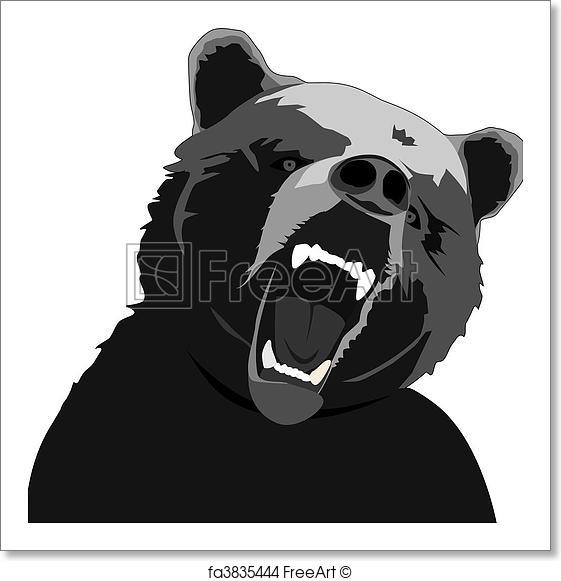 561x581 Free Art Print Of Angry Bear. Vector Angry Bear Illustration On