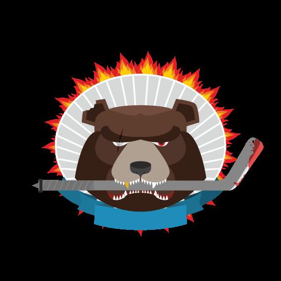 550x550 Hockey Emblem. Angry Bear. Vector Illustration
