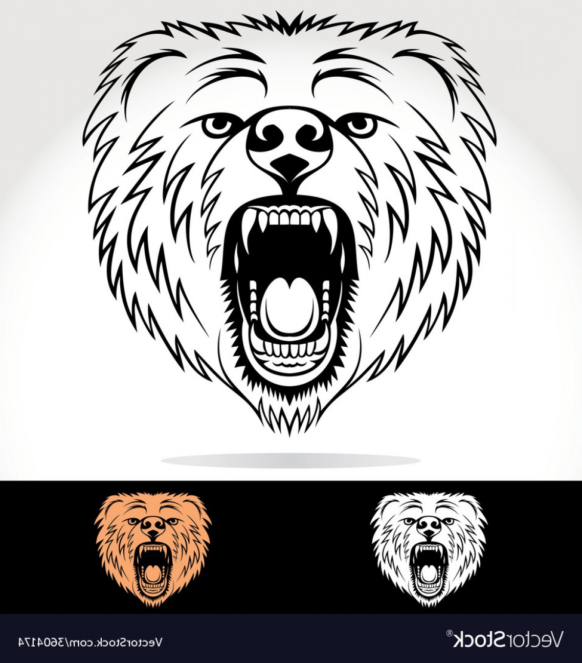 1138x1296 Angry Bear Face Tribal Vector Rongholland