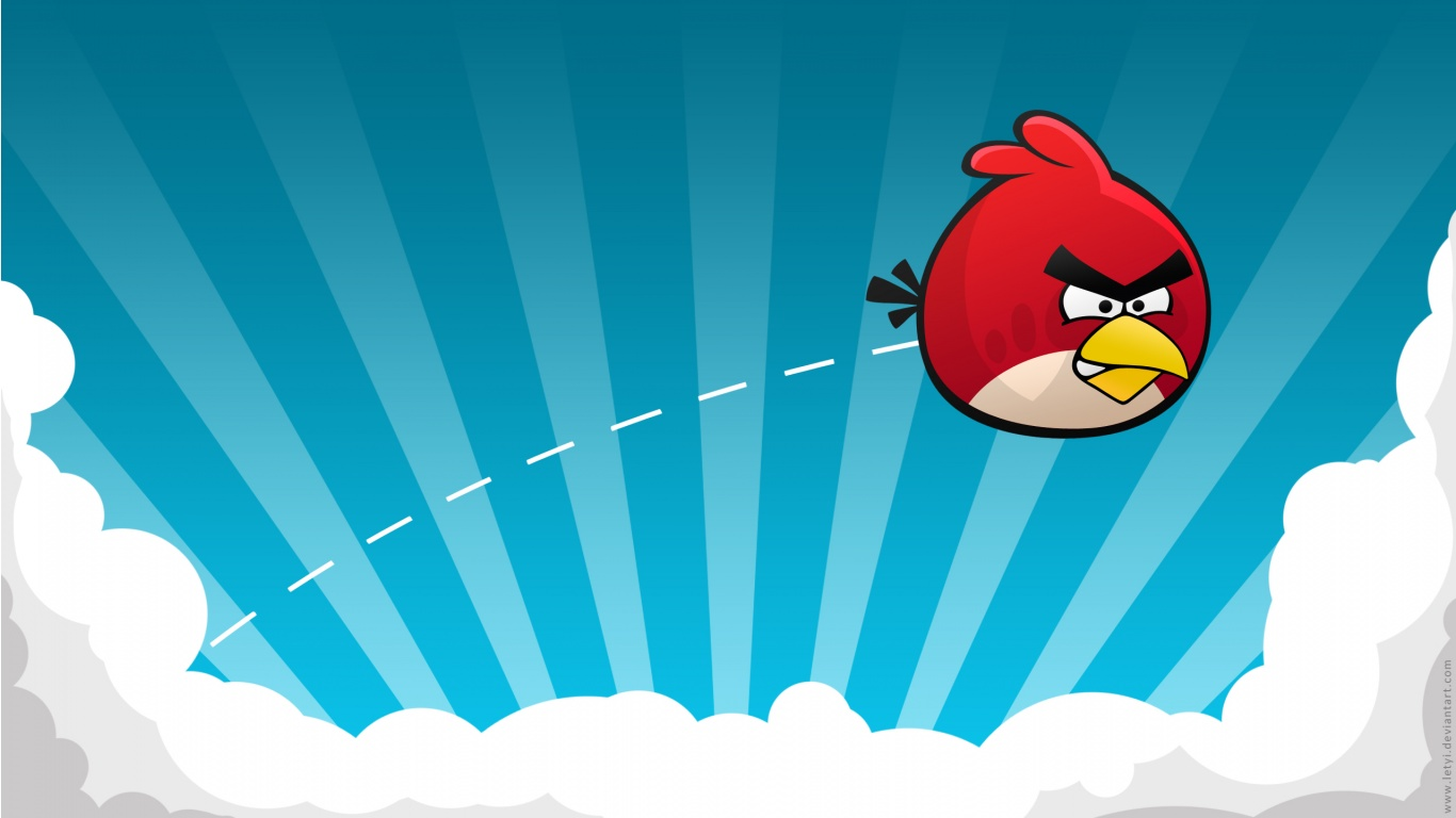 1366x768 Angry Birds Game Blue Vector Sky Clouds Hd Wallpapers Epic