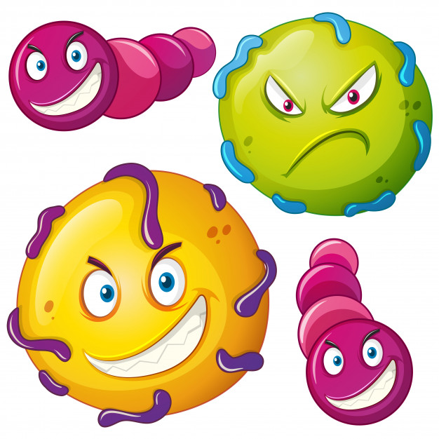 626x626 Bacteria With Angry Face Vector Premium Download