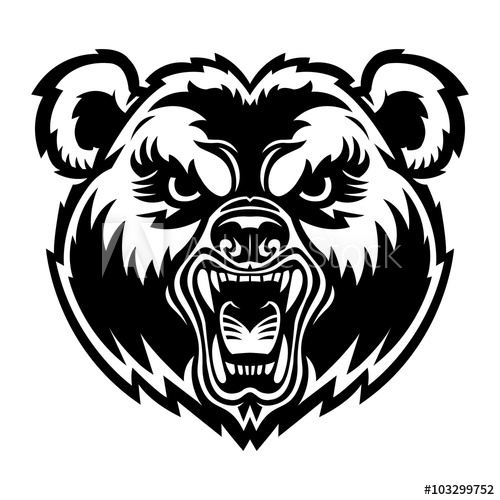 500x500 Bear Angry Face Vector Illustration