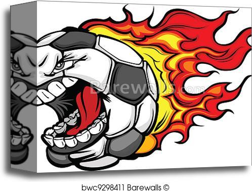 498x379 Canvas Print Of Flaming Soccer Ball Screaming Face Vector Cartoon