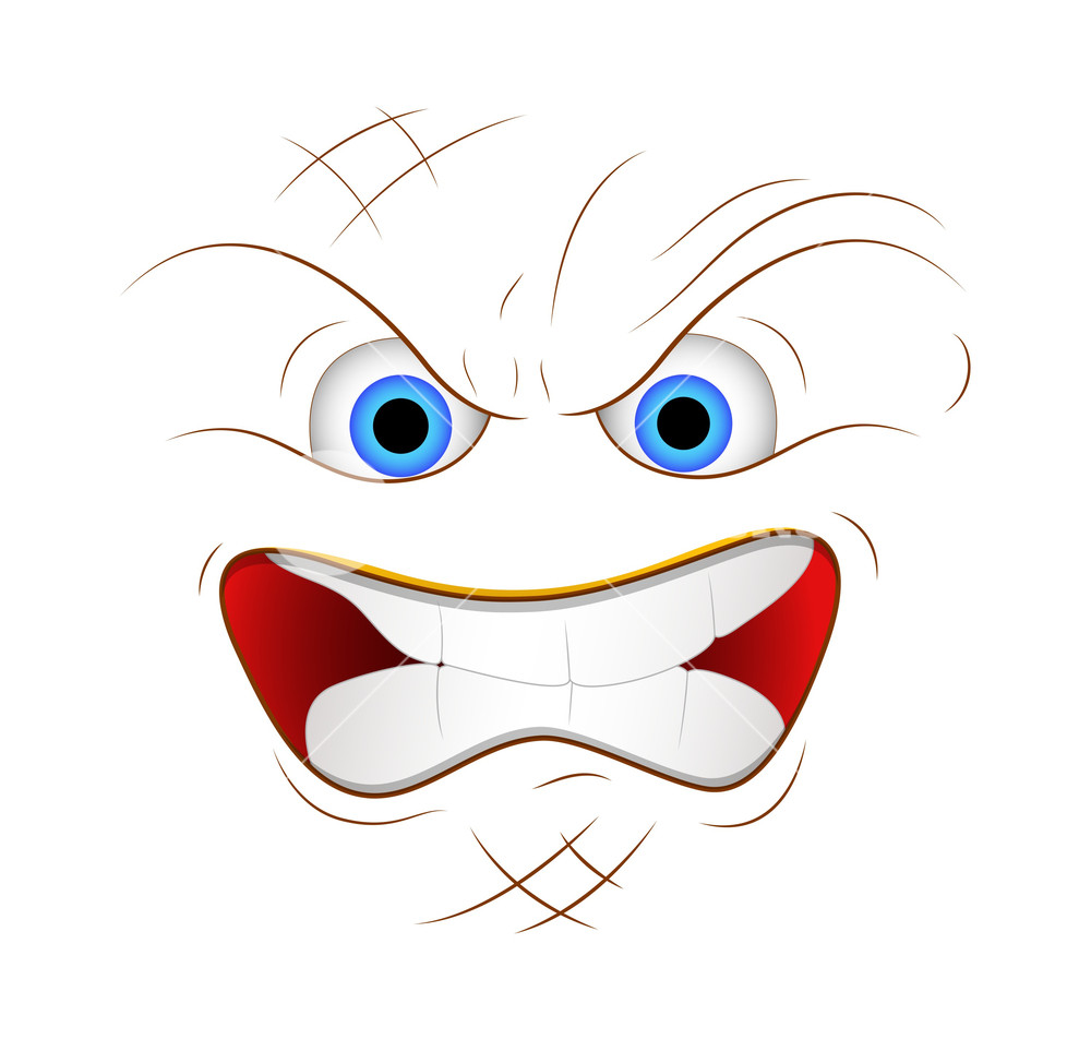 1000x952 Cartoon Angry Face Expression Vector Illustration Royalty Free