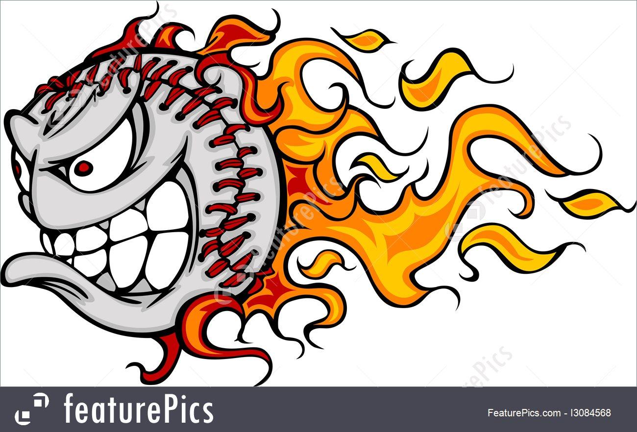1300x882 Flaming Baseball Or Softball Face Vector Cartoon