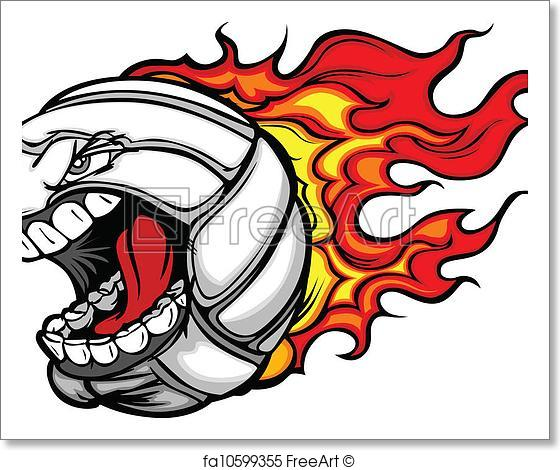 560x470 Free Art Print Of Flaming Volleyball Ball Screaming Face Vector
