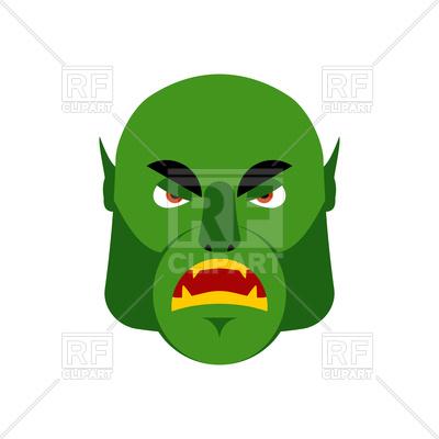 400x400 Ogre Angry Emoji. Goblin. Green Monster Face Vector Image Vector