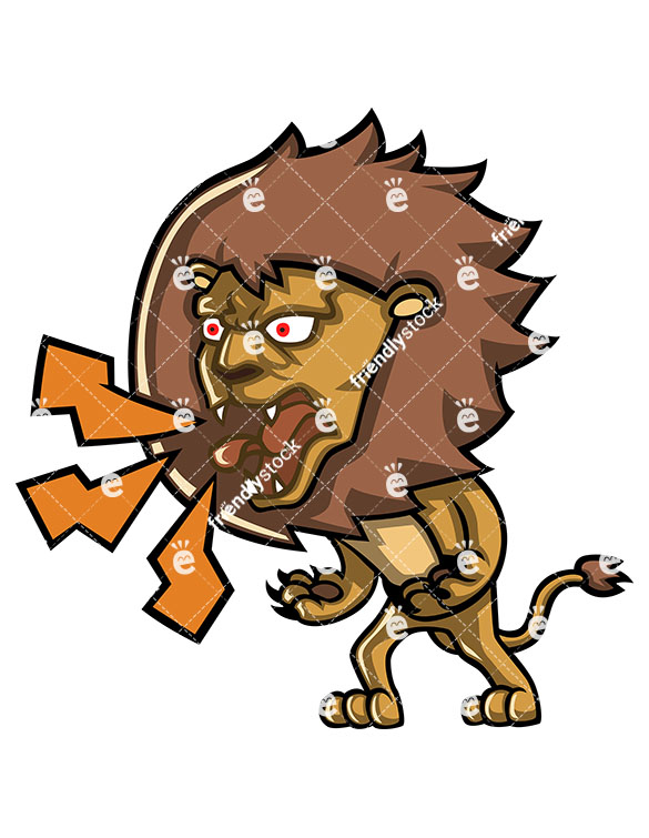 585x755 Angry Lion Yelling At Someone Cartoon Clipart