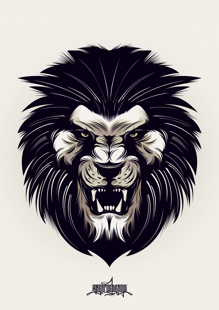 770x1089 Angry Lion On In 2018 Illustration Lions, Tattoo