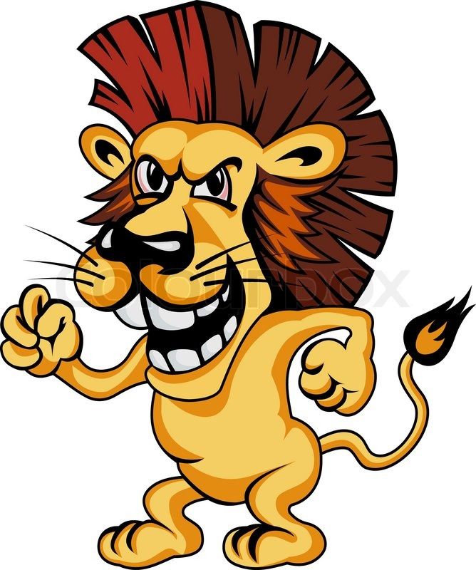 668x800 Angry Cartoon Lion Isolated On White Background Stock Vector