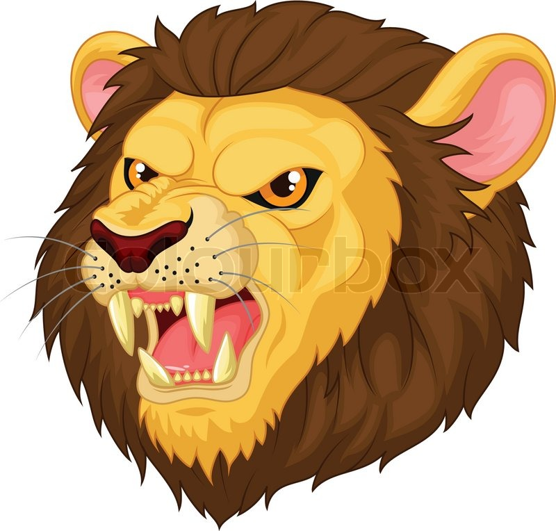 800x764 Angry Lion Head Mascot Cartoon Stock Vector Colourbox