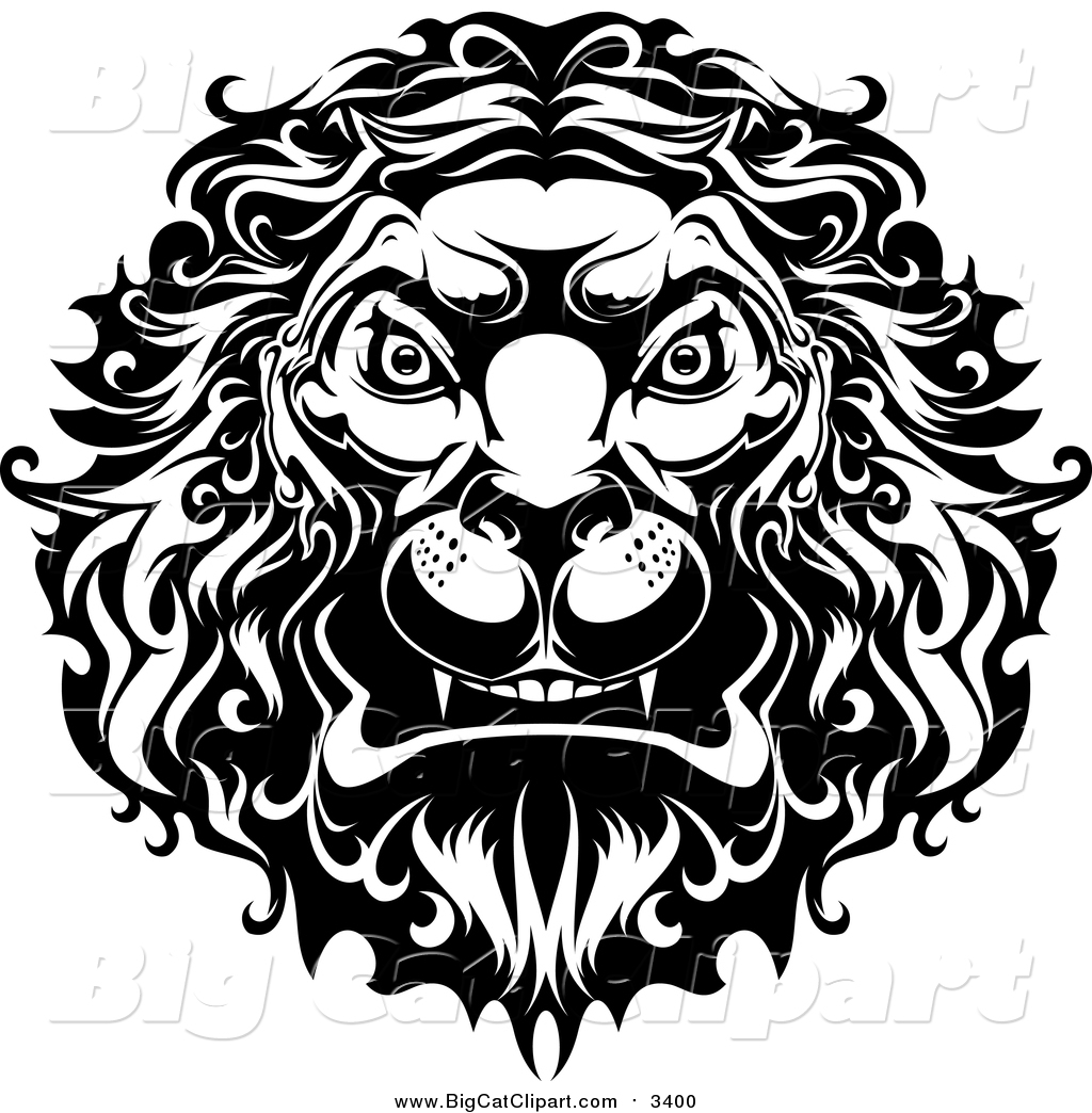 1024x1044 Big Cat Vector Clipart Of A Black And White Angry Lion Head With A