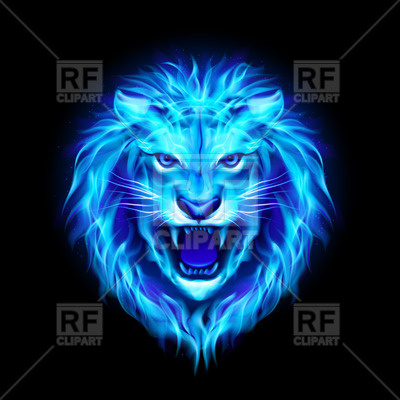 400x400 Head Of Aggressive Blue Fire Lion Vector Image Vector Artwork Of