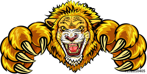 500x253 Illustration Of Angry Lion Mascot Stock Image And Royalty Free