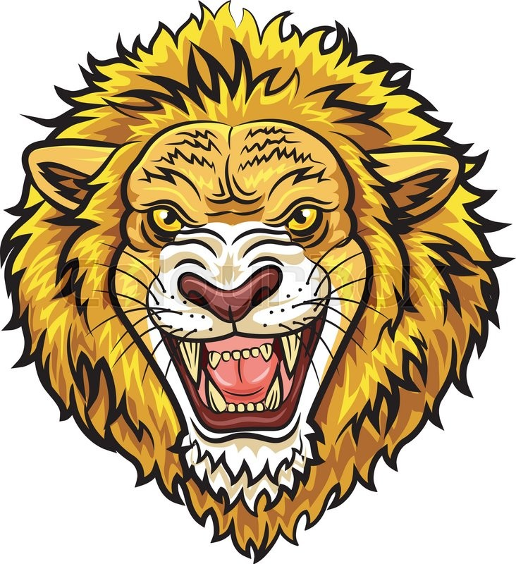 732x800 Vector Illustration Of Cartoon Head Angry Lion Mascot Stock