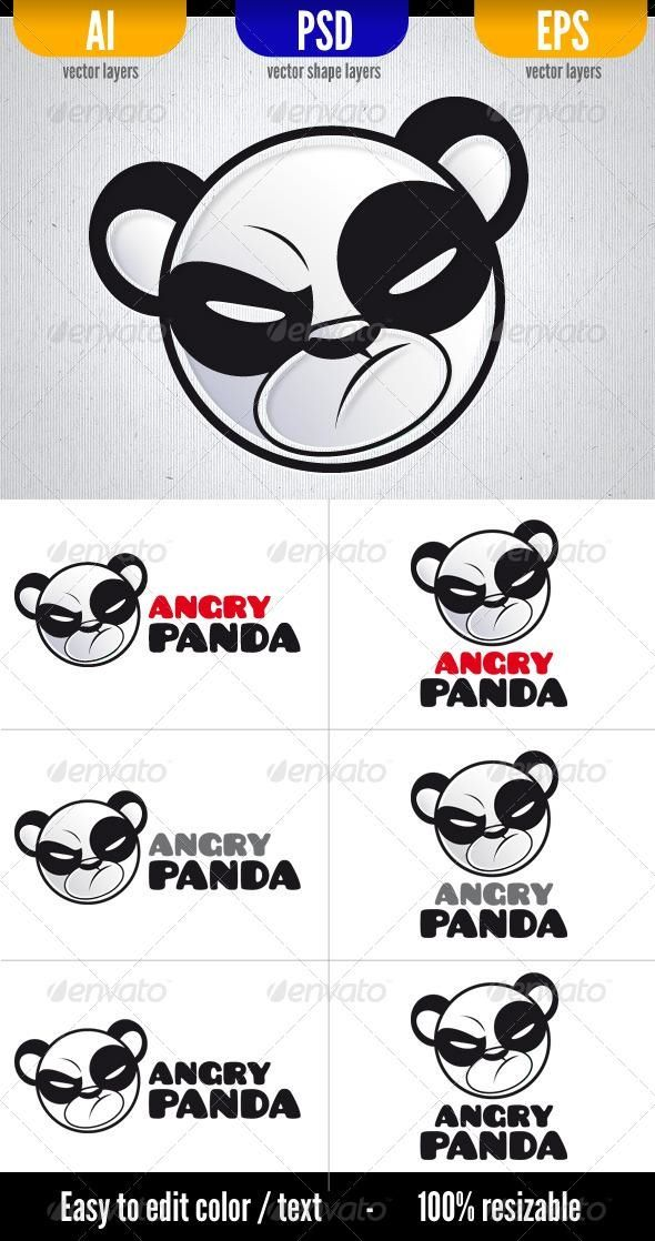 590x1118 Angry Panda Panda, Vector Shapes And Logo Templates