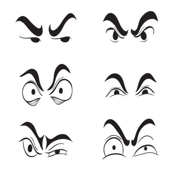 600x600 Angry Cartoon Eyes Set Vector
