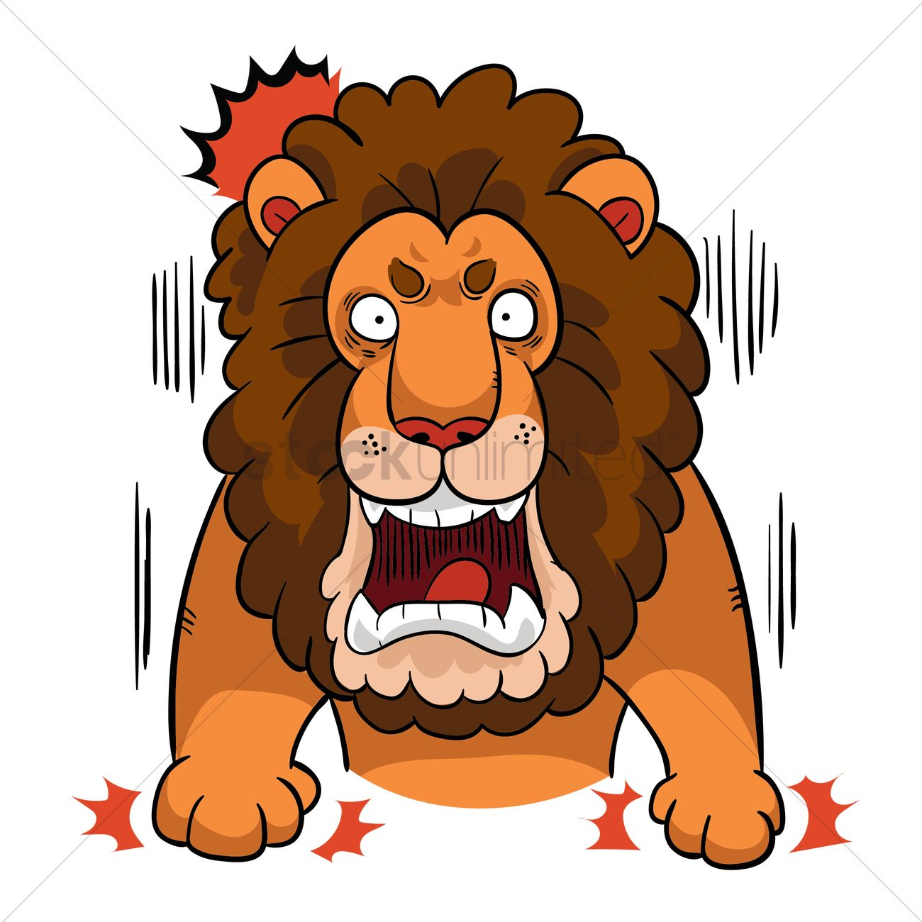 1300x1300 Cartoon Lion Is Angry Vector Image