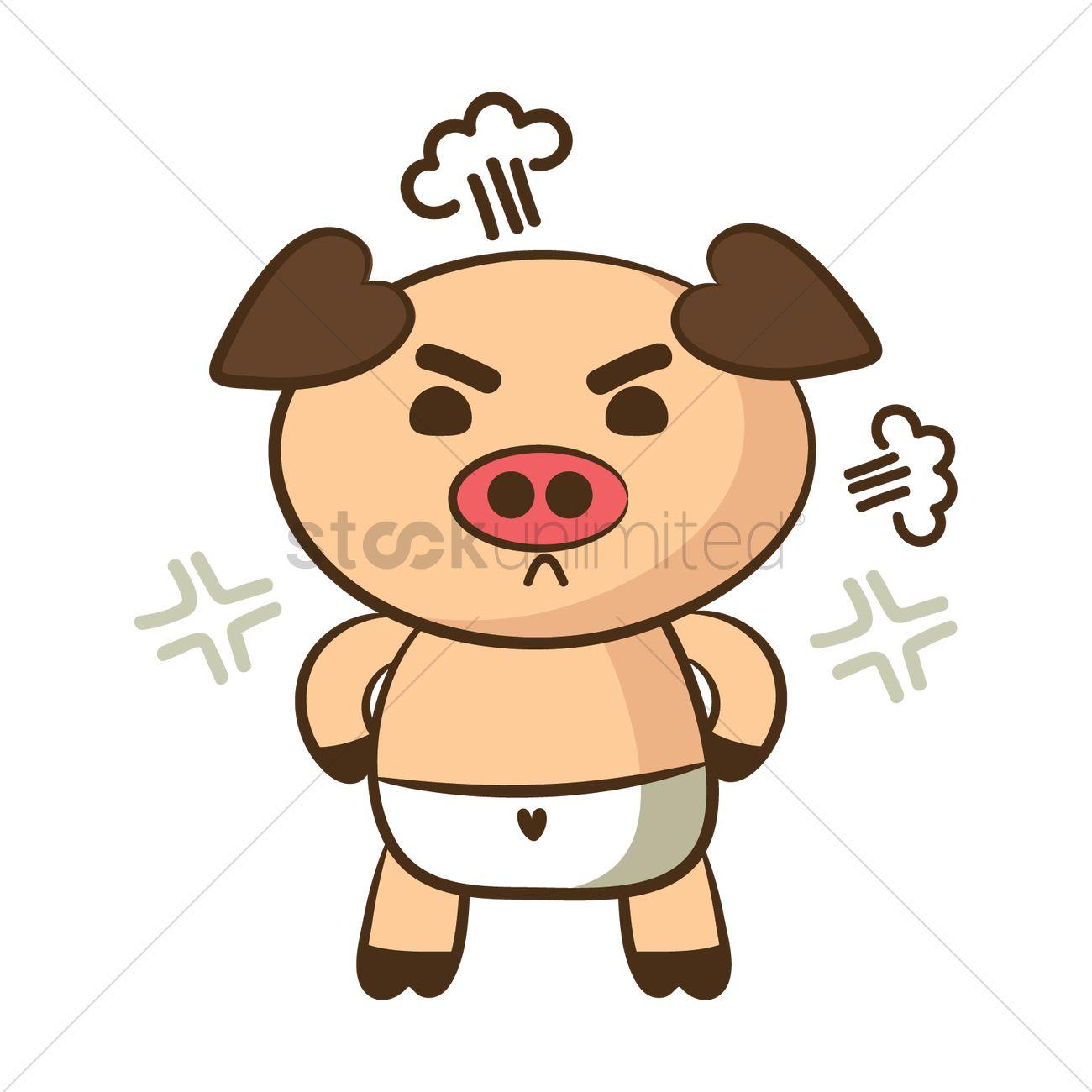1300x1300 Cartoon Pig Feeling Angry Vector Image