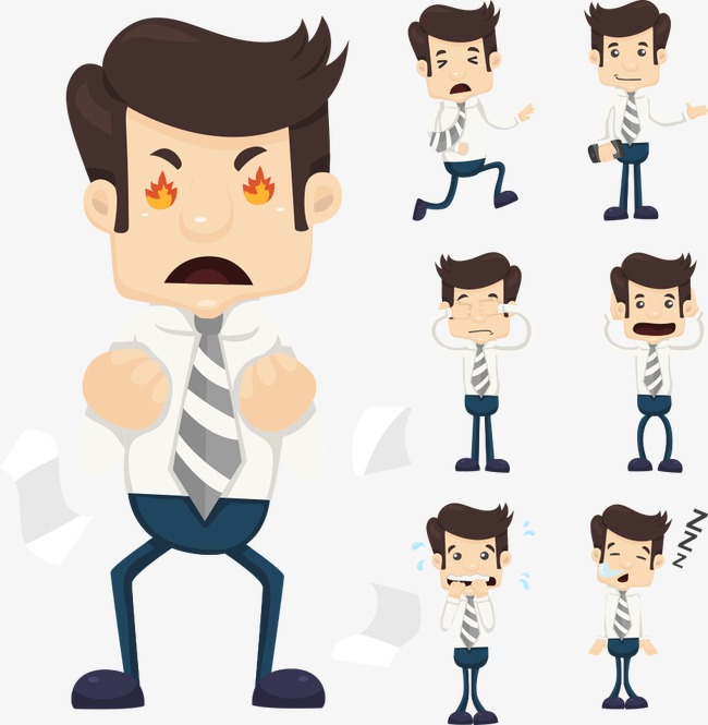 650x665 Angry Vector Character, Character Clipart, Business People