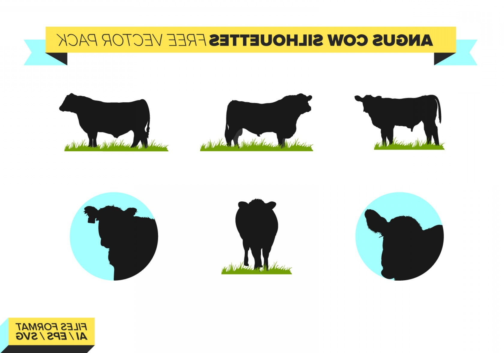 1680x1176 Angus Cow Silhouettes Vector Pack Geekchicpro