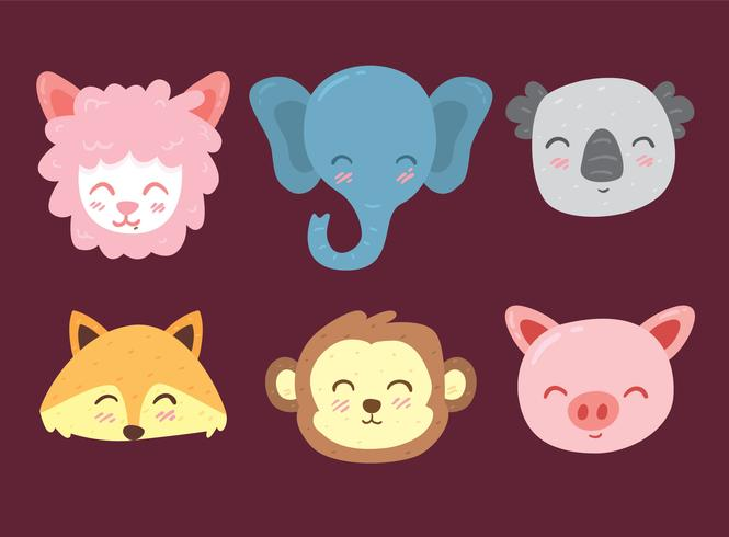 665x490 Cute Animal Face Colletion Vector