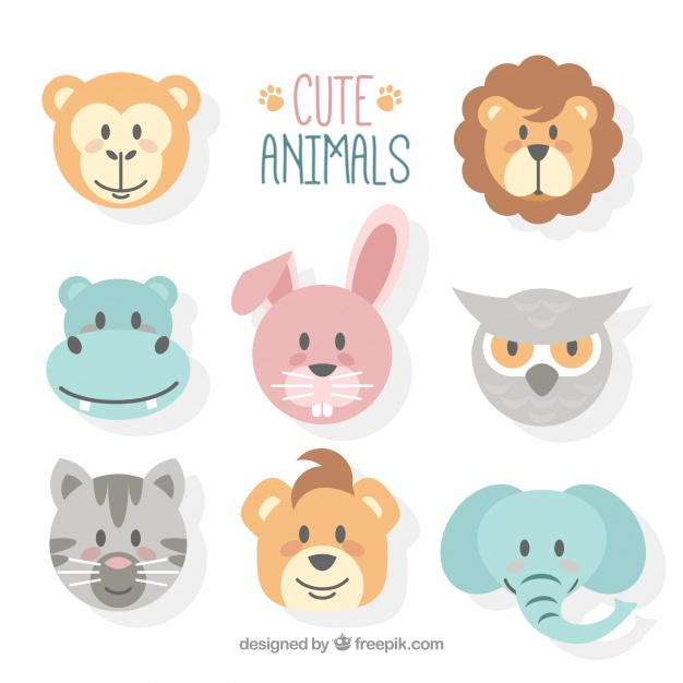 626x626 Cute Animal Faces With Flat Design Vector Free Download