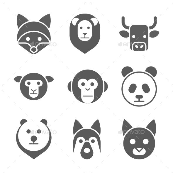 590x590 Animal Face Set. Vector Illustration By Kuroksta Graphicriver