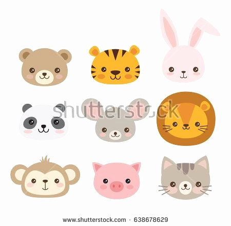 450x440 Monkey Face Template Unique Cute Animal Faces A Set Of Vector