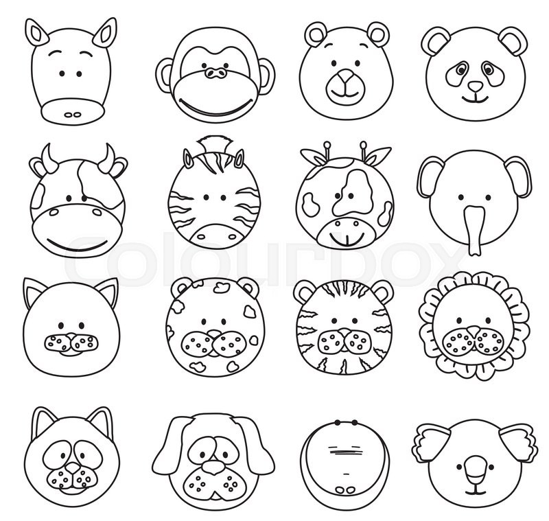 800x759 Set Of Cartoon Animals Faces Thin Line Icons. Vector Collection Of