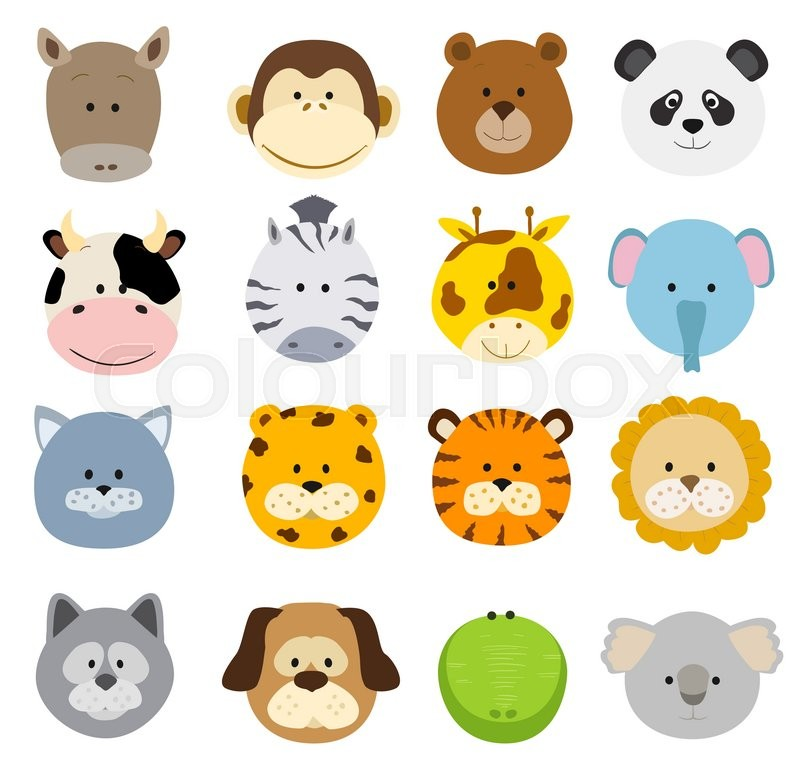 800x759 Set Of Cartoon Animals Faces. Vector Collection Of Cute Jungle And