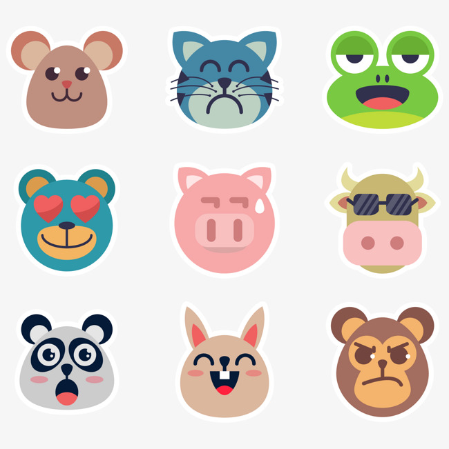 650x651 Vector Animal Face Sticker, Animal Vector, Face Vector, Sticker