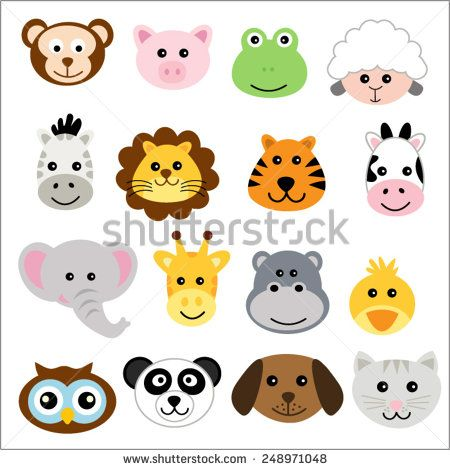 450x470 Vector Illustration Of Animal Faces