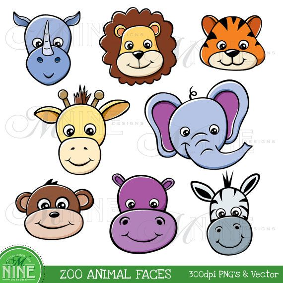 570x570 Zoo Animal Faces Clipart Illustrations Digital Clip Art, Instant