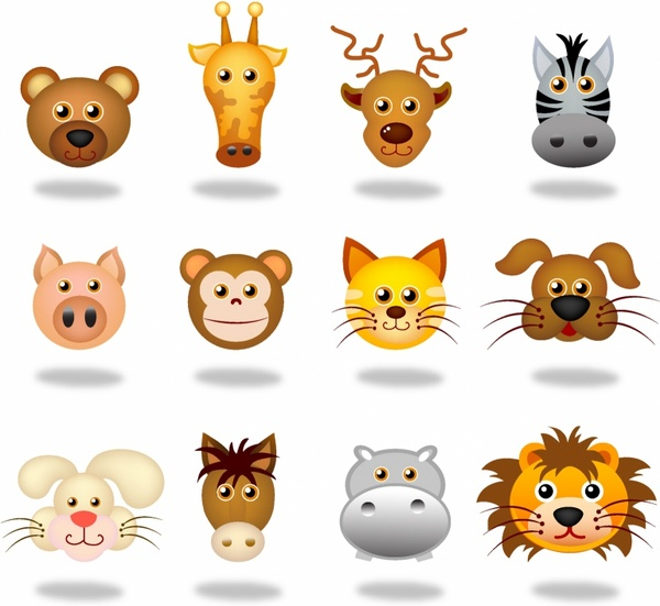 600x551 Animals Face Icons Free Vector In Adobe Illustrator Ai ( .ai