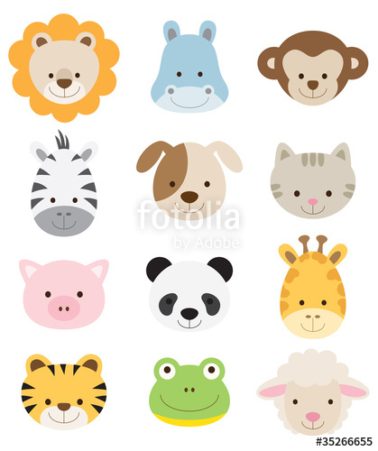 419x500 Baby Animal Faces Set Stock Image And Royalty Free Vector Files