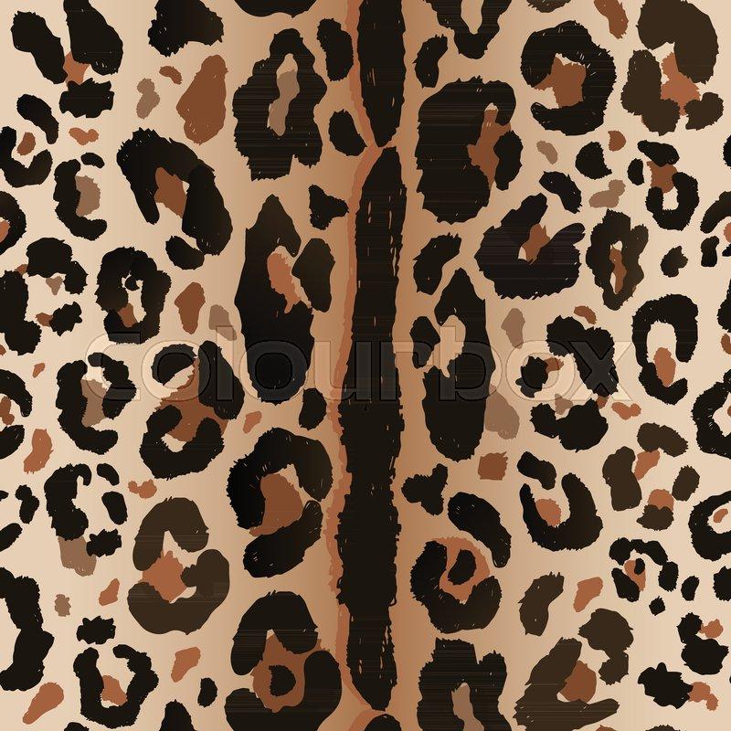 800x800 Seamless Leopard Wild Nature Pattern. Vector Animal Print. Stock