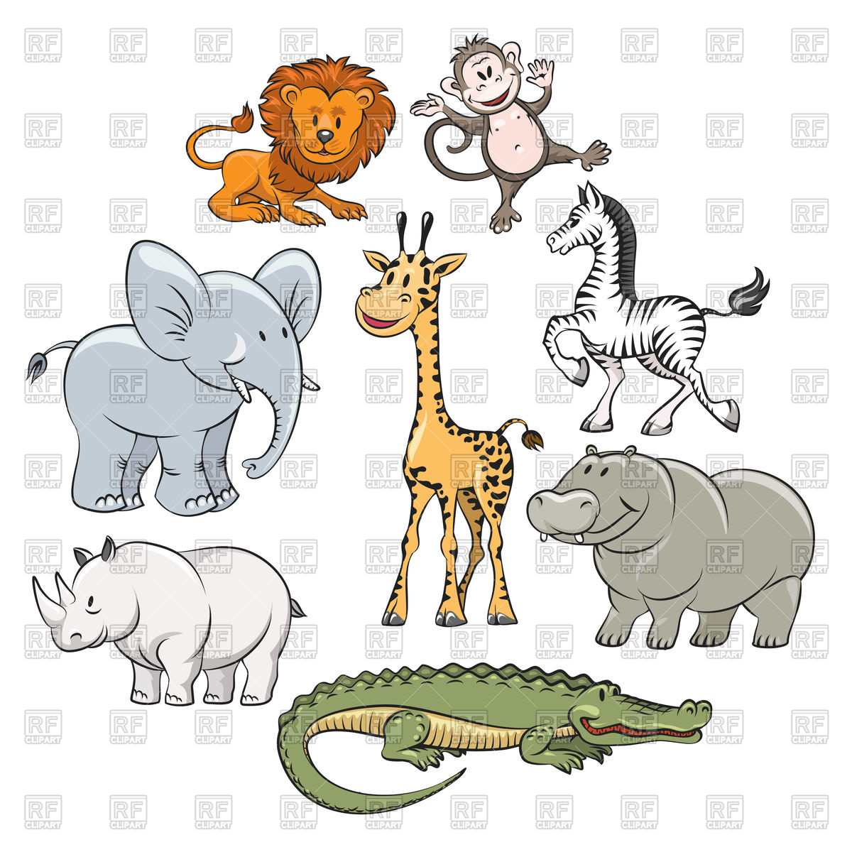1200x1200 Cartoon Safari And Jungle Animals Flat Icons Vector Image Vector