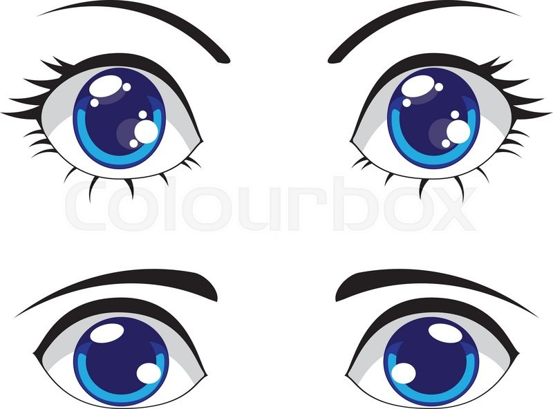 800x592 Big Cartoon Eyes Of Blue Color, Female And Male Eyes. Stock