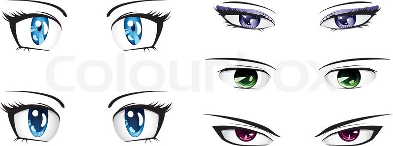 800x297 Different Anime Eyes Stock Vector Colourbox