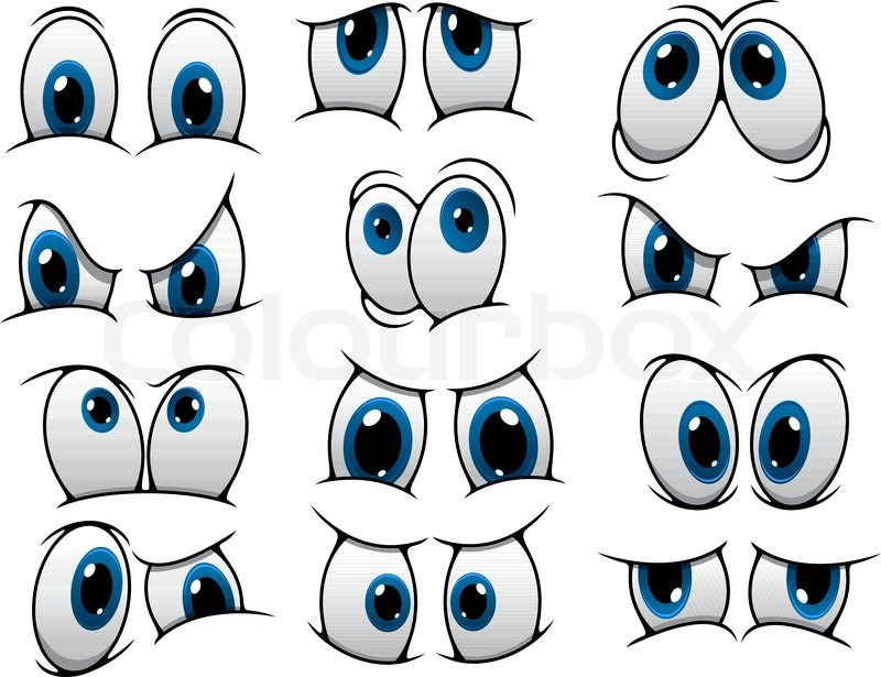 800x615 Large Set Of People Cartoon Eyes Depicting A Variety Of