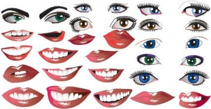 425x219 Lips And Eyes Vector Vec14 Design Lips, Adobe