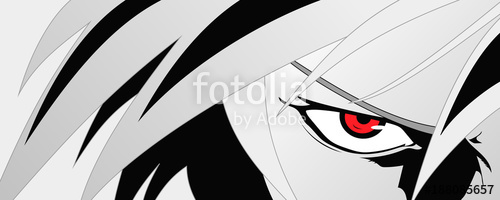 500x200 Anime Face With Red Eyes From Cartoon. Web Banner For Anime, Manga