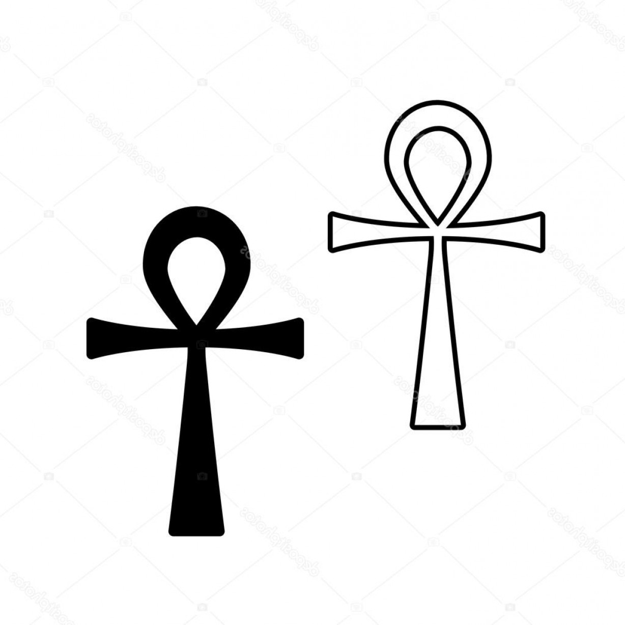1228x1228 Stock Illustration Ankh Symbols Egyptian Crosses Geekchicpro