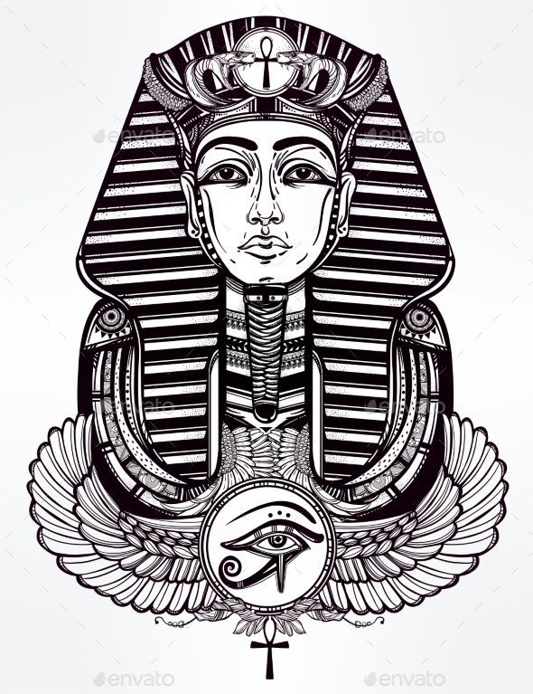 590x767 Vintage Tattoo Pharaoh With Winged Ankh Vector Illustration Eps