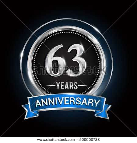 450x470 63 Years Anniversary Logo With Silver Ring And Blue Ribbon Vector