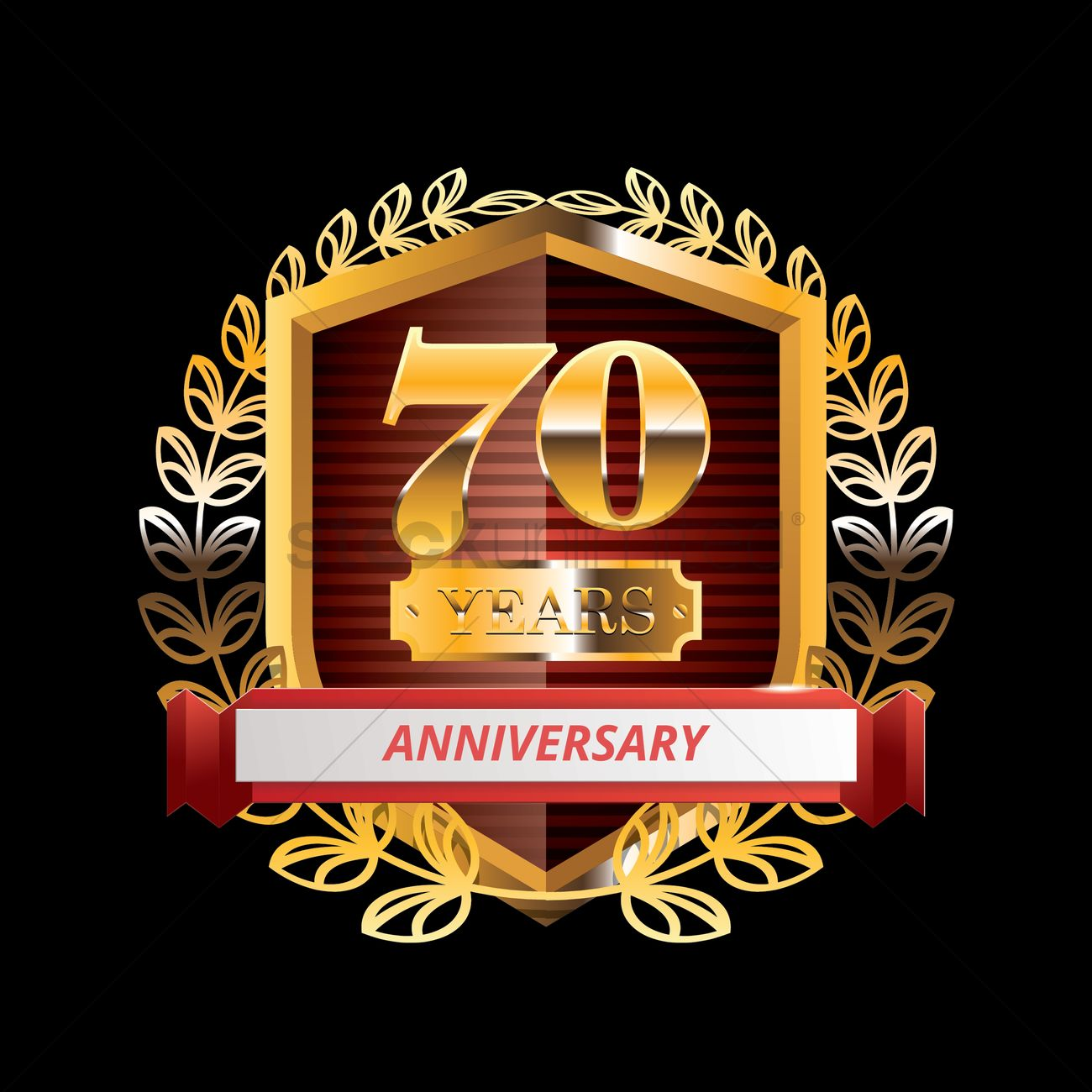 1300x1300 70 Years Anniversary Label With Ribbon Vector Image