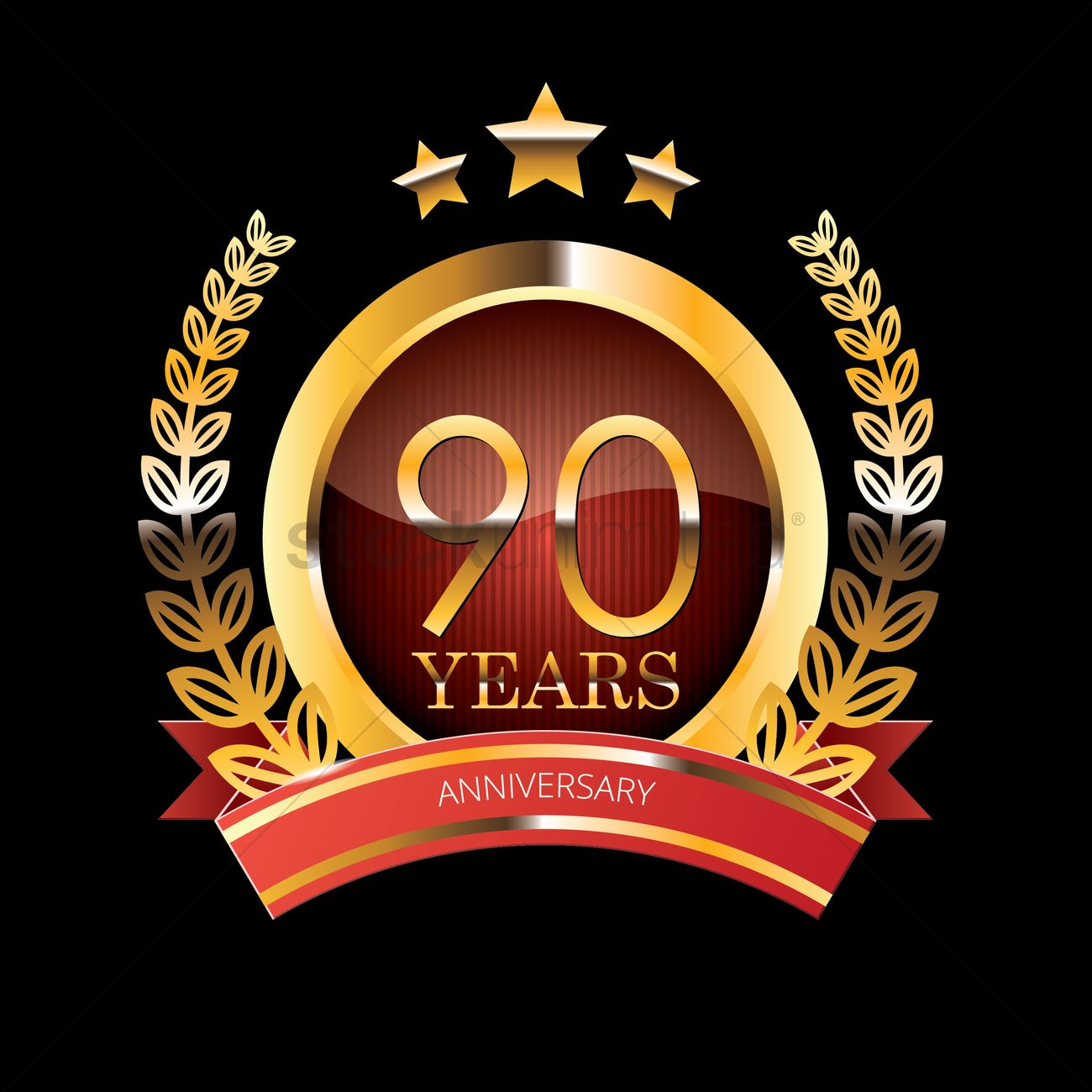 1300x1300 90 Years Anniversary Label With Ribbon Vector Image