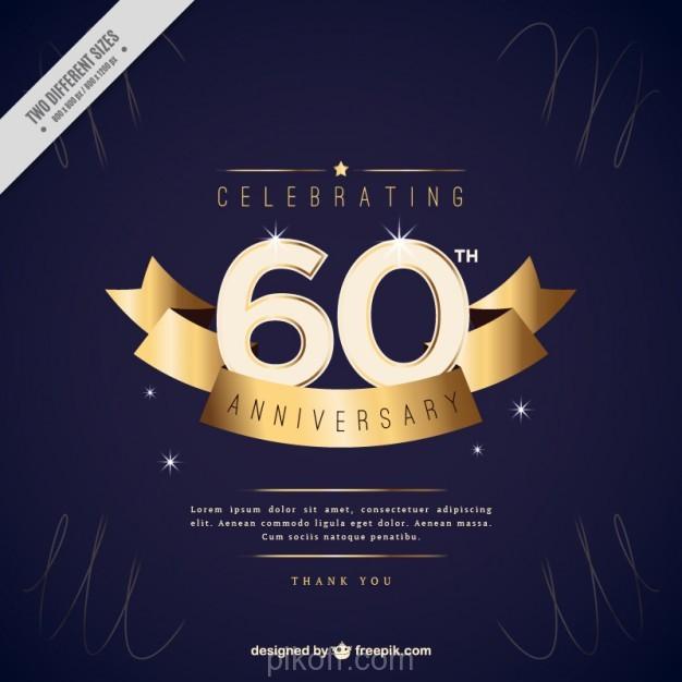 626x626 Ai] Sixty Anniversary Invitation With Golden Ribbon Vector Free